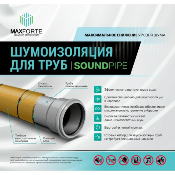 Шумоизоляция для труб МаксФорте SoundPIPE